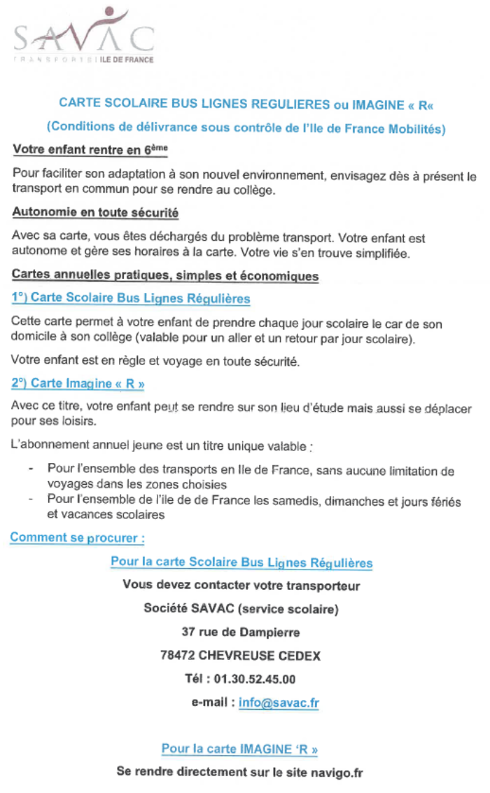 carte scolaire bus savac 2019